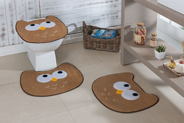 Kit Tapete de Banheiro 3 Peças Antiderrapante Coruja Bege