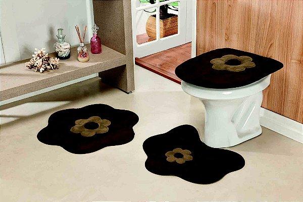 Kit Tapete de Banheiro 3 Peças Antiderrapante Margarida Café