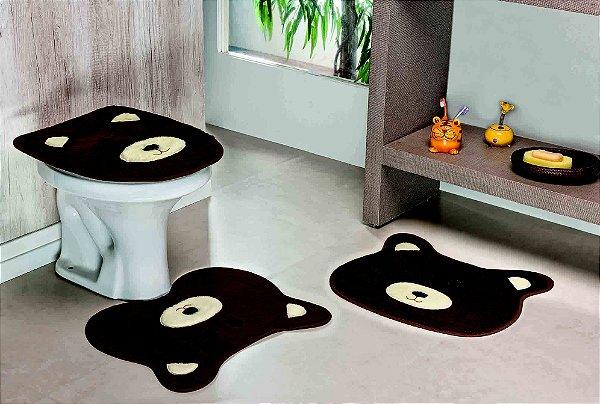 Kit Tapete de Banheiro 3 Peças Antiderrapante Urso Café
