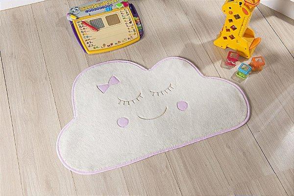 Tapete Formato Baby Antiderrapante Nuvem Rosa