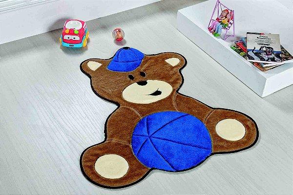 Tapete Formato Baby Antiderrapante Urso Baby Azul Royal