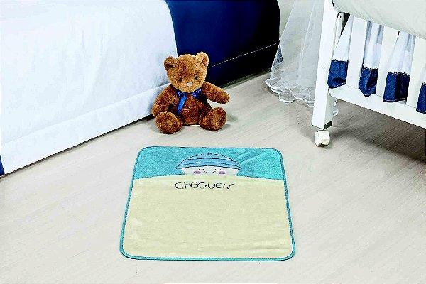Tapete Formato Baby Antiderrapante Bebê Cheguei Azul Turquesa