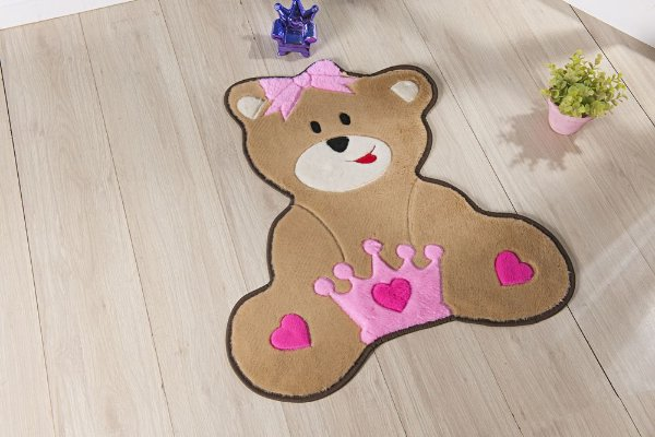 Tapete Formato Baby Antiderrapante Ursa Coroa Rosa