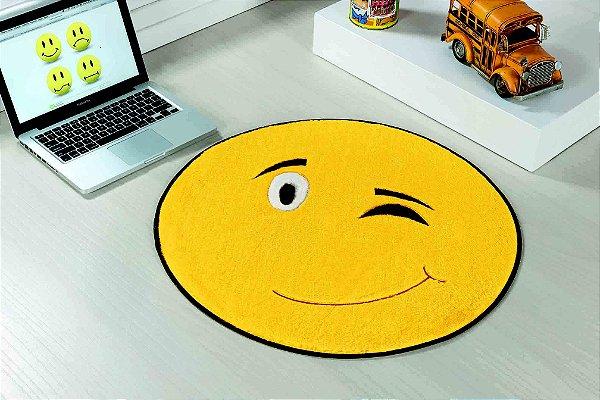 Tapete Formato Feltro Antiderrapante Emoji Pisca Pisca Amarelo