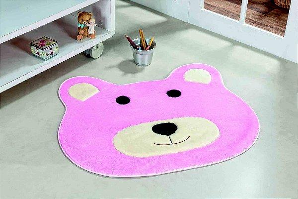 Tapete Formato Feltro Antiderrapante Urso Rosa