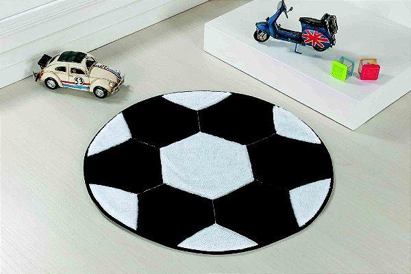 Tapete Formato Feltro Antiderrapante Bola Futebol Branca Preta