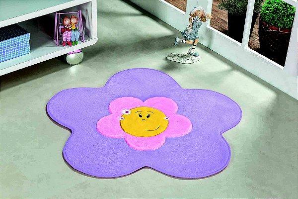 Tapete Formato Feltro Antiderrapante Menina Flor Lilás