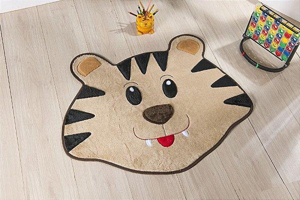 Tapete Formato Feltro Antiderrapante Tigre Bege