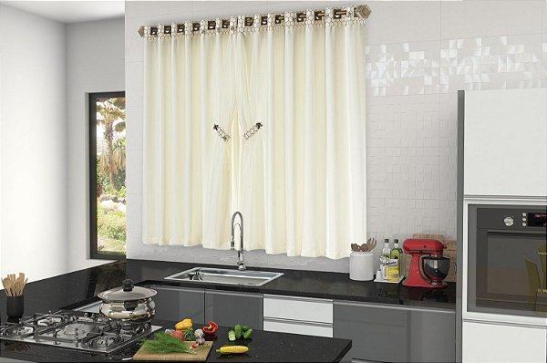 Cortina Tropical para Cozinha Abelha 2,00m X 1,50m. Palha