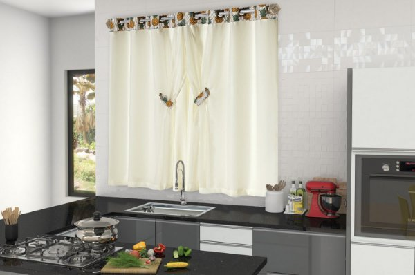 Cortina Tropical para Cozinha Abacaxi 2,00m X 1,50m. Palha