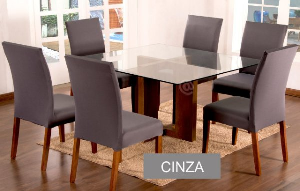 Kit Capa De Cadeira Lisa 2 Peças Cinza