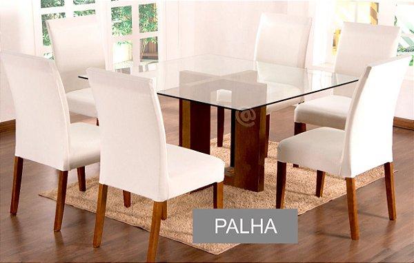 Kit Capa De Cadeira Lisa 2 Peças Palha