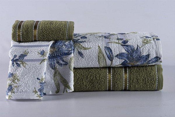 Jogo de Toalha de Banho 4 peças Noblesse Cactus Blossom Azul