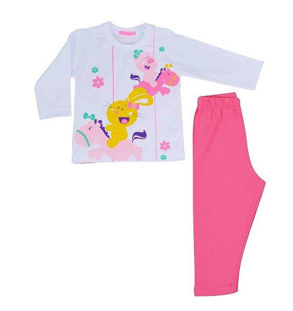 Conjunto de camiseta manga longa e calça carrossel Get baby