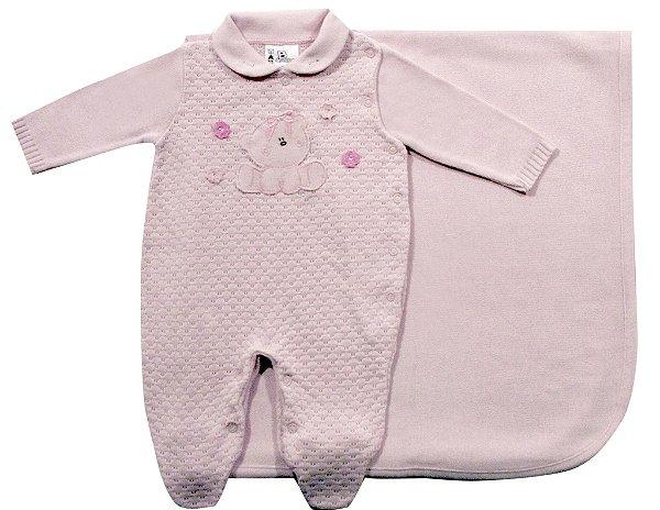 Saida de maternidade ursa bordado B de bebê