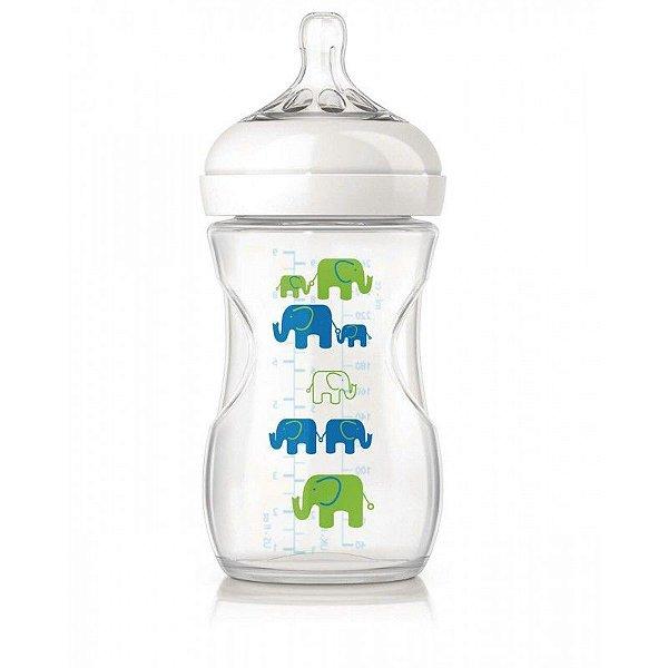 Mamadeira pétala elefante azul e verde 260ml Philips Avent