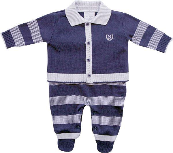 Conjunto Bebê Casaco e Macacão Azul Listrado Noruega