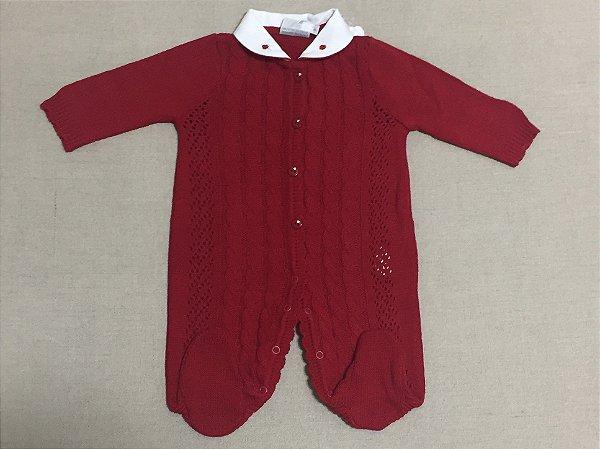 Macacão Bebê Vermelho Tranças e Furos Noruega