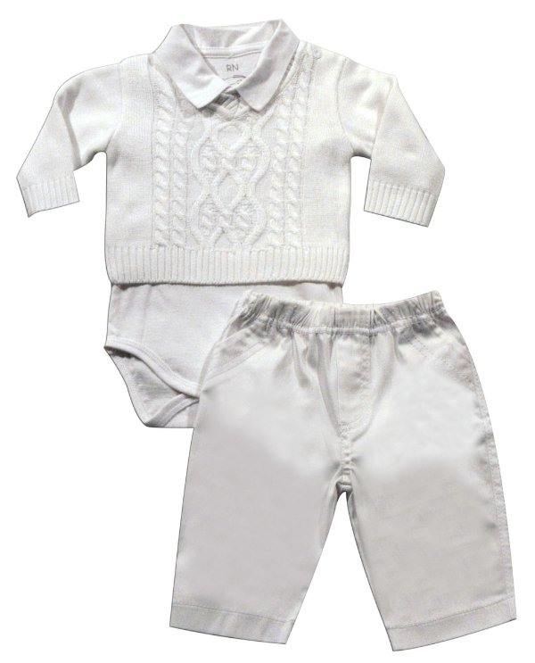Conjunto batizado, blusa, body e calça Noruega
