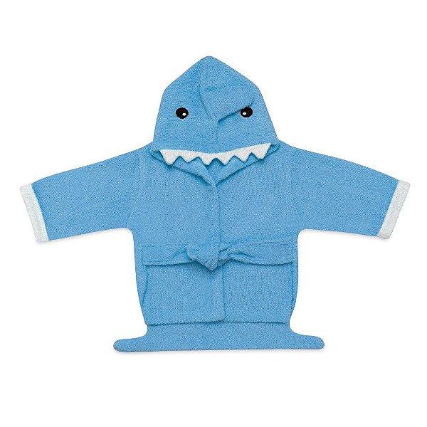 Roupão Para Bebê Com Capuz Azul Multkids