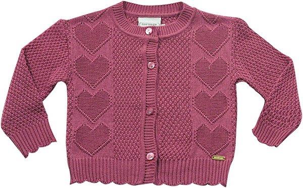 Casaco rosa ponto coração Noruega