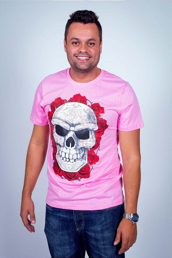 Camiseta Caveira Mexicana Coroa de Flores