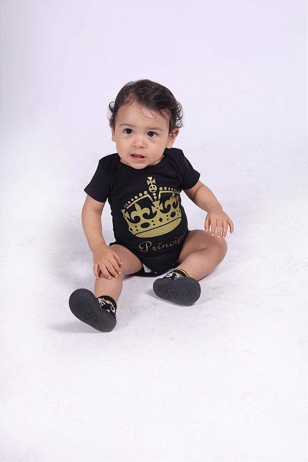 Body Infantil Príncipe - Preto com Dourado