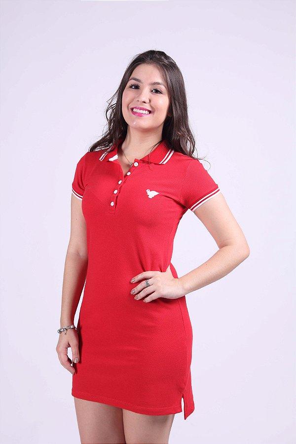 Vestido Manga Curta Vermelho