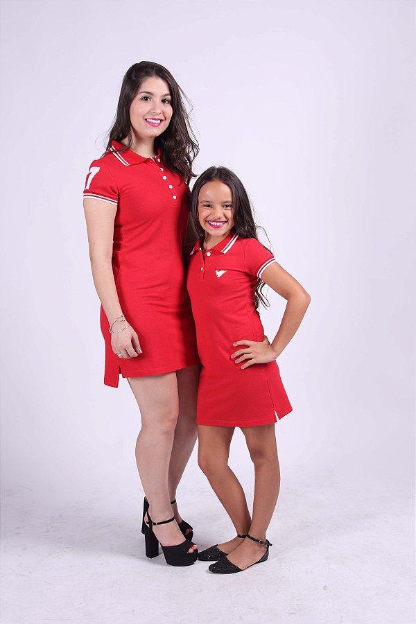 MÃE E FILHA > Kit 02 Vestidos Polo Vermelhos [Coleção Tal Mãe Tal Filha]