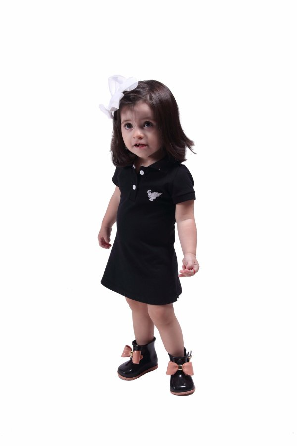 Vestido Infantil Manga Curta Preto