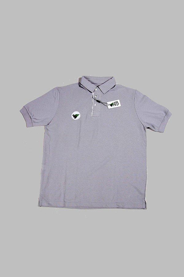Camisa Polo Cinza Logo Destacado