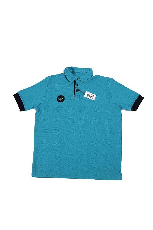 Camisa Polo Verde Punho Preto Logo Destacado