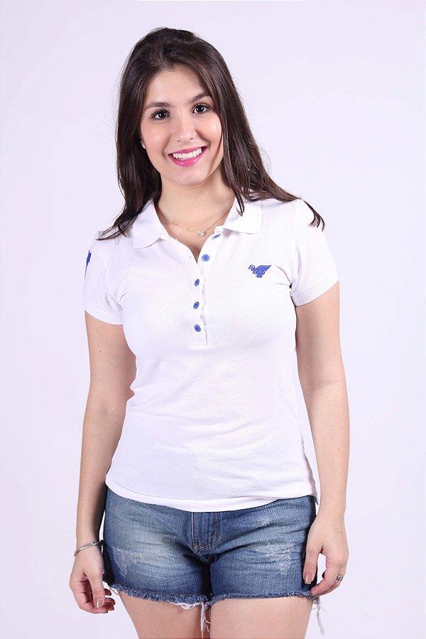 Camisa Polo Feminina Branca com Azul