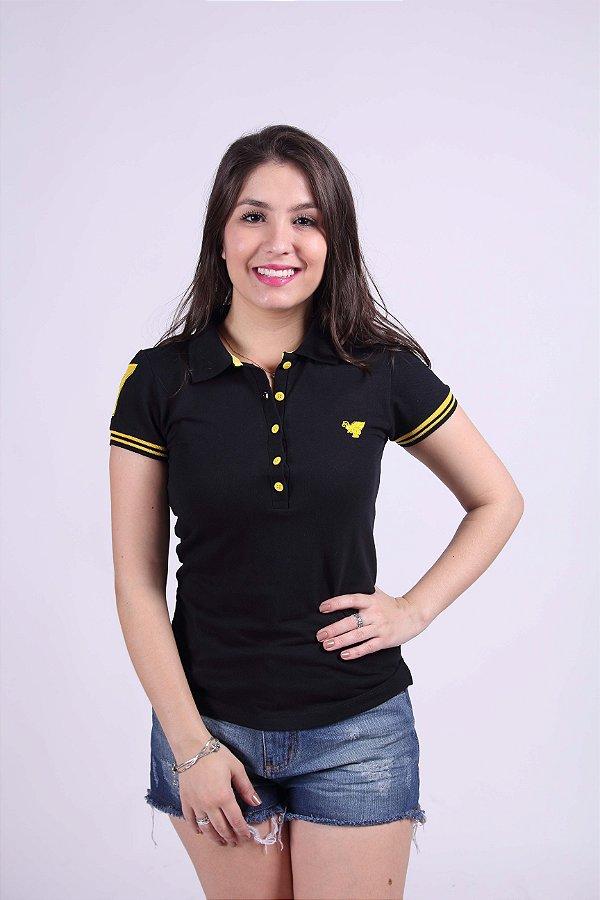Camisa Polo Feminina Preta Com Amarelo