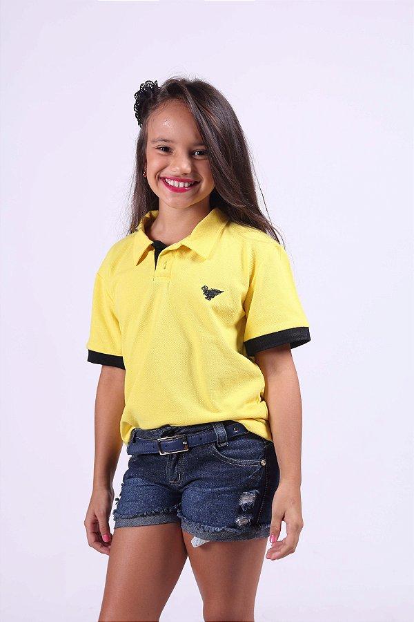 Camisa Polo Infantil Feminina Amarela