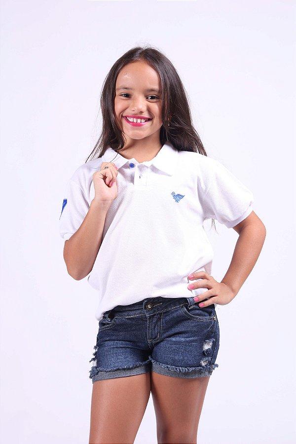 Camisa Polo Infantil Feminina Branca detalhes azul