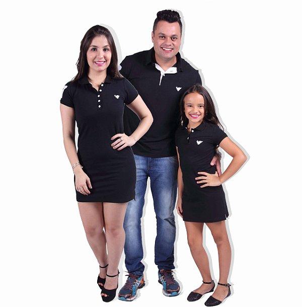 PAIS E FILHOS > Kit 3 peças Vestidos Polo e Camisa Preto [Coleção Família]