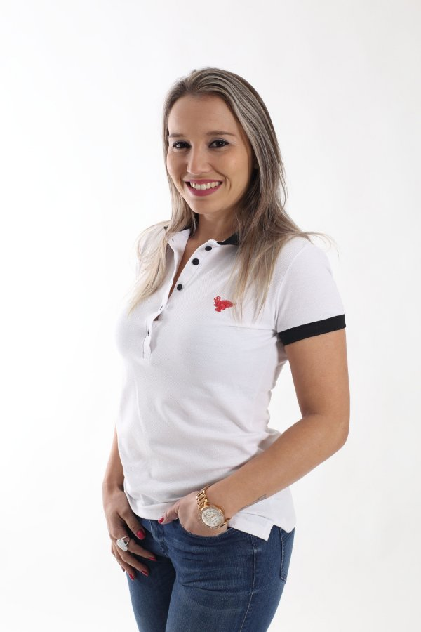Camisa Polo Feminina Branca com Preto