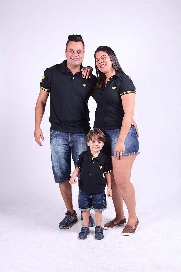 PAIS E FILHOS > Kit 3 peças Camisas Polo Preto com Amarelo [Coleção Família]