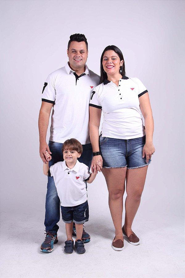 PAIS E FILHOS > Kit 3 peças Camisas Polo Branco Ano Novo [Coleção Família]