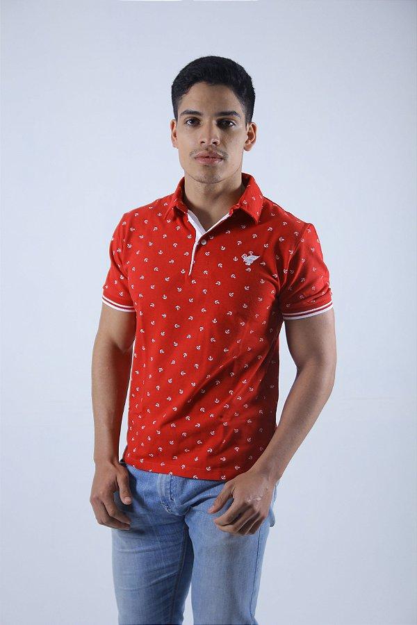 Camisa Polo Vermelha Estampada