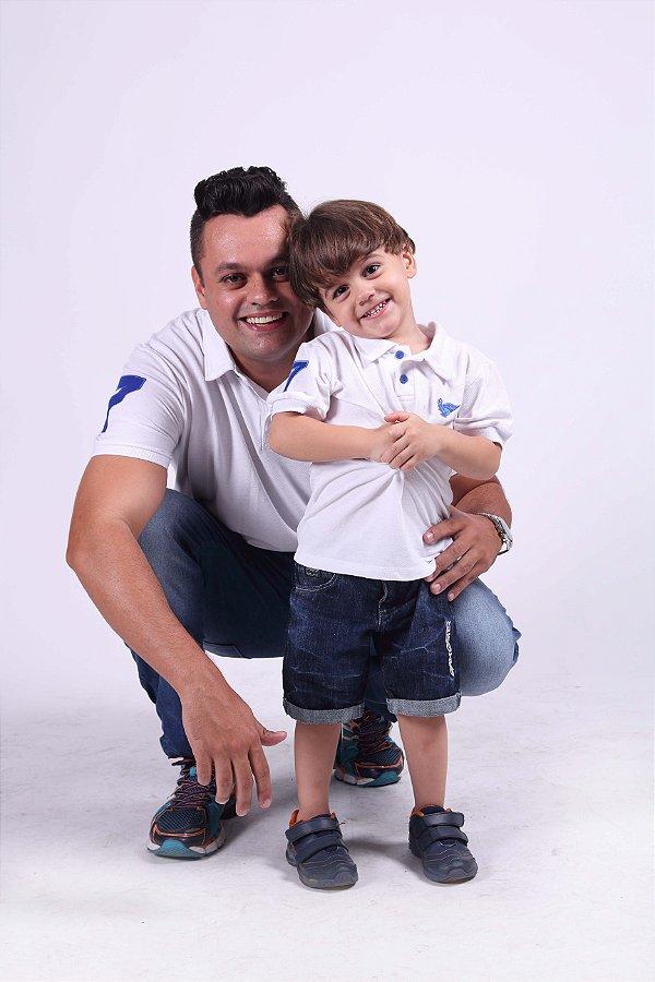 PAI E FILHO > Kit 02 Camisas Pólo Branca [Coleção Tal Pai Tal Filho]