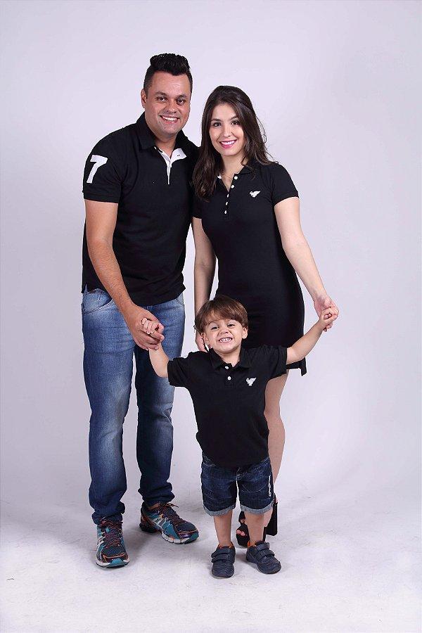PAIS E FILHOS > Kit com 3 peças Vestido e Camisas Polo Preto  [Coleção Família]