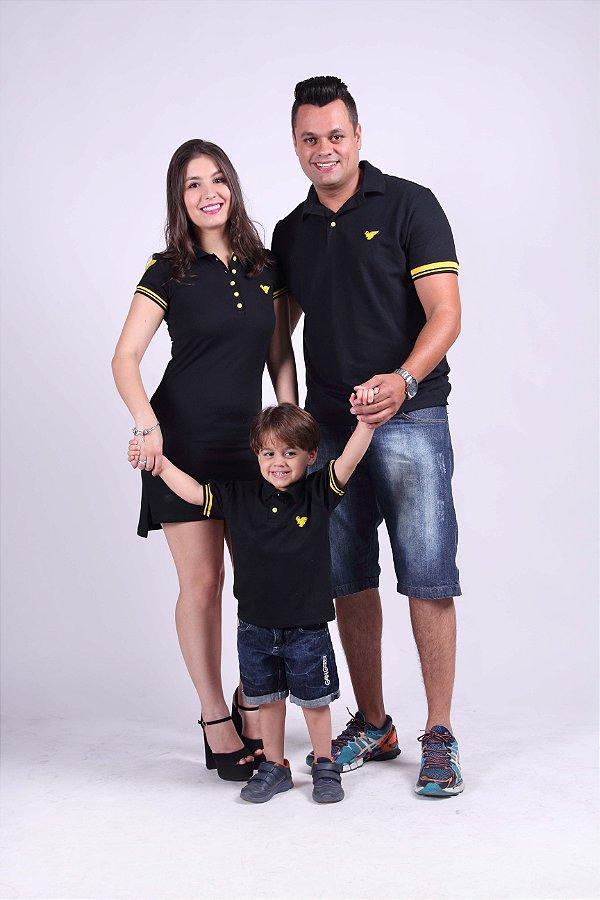 PAIS E FILHOS >  02 Camisas e 01 Vestido Polo Preto com detalhes Amarelo [Coleção Família]