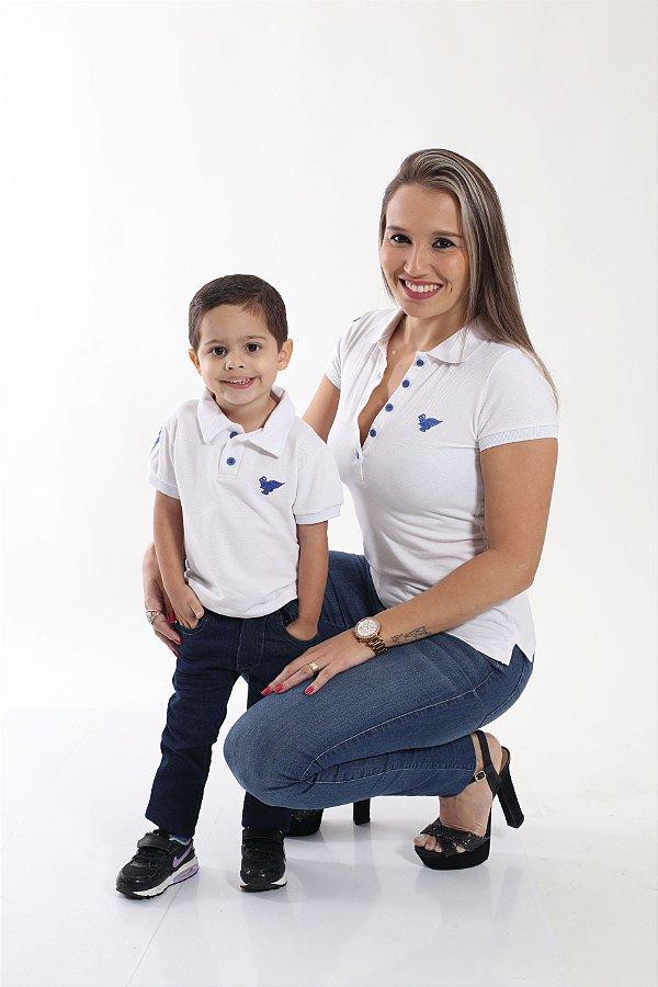 MÃE E FILHO >  02 Camisas Polos Branca [Coleção Tal Mãe Tal Filho]