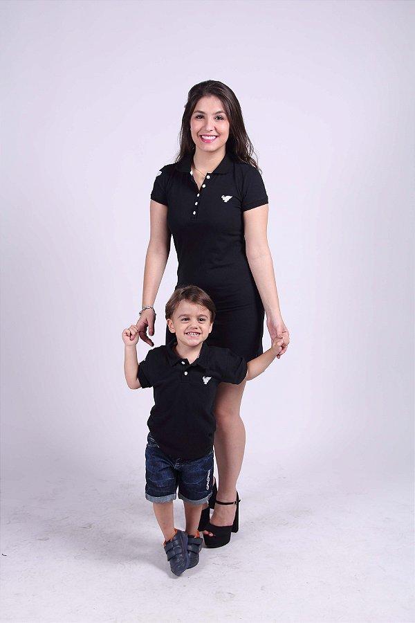 MÃE E FILHO > Kits com 2 peças Camisa e Vestido Polo Preto [Coleção Tal Mãe Tal Filho]
