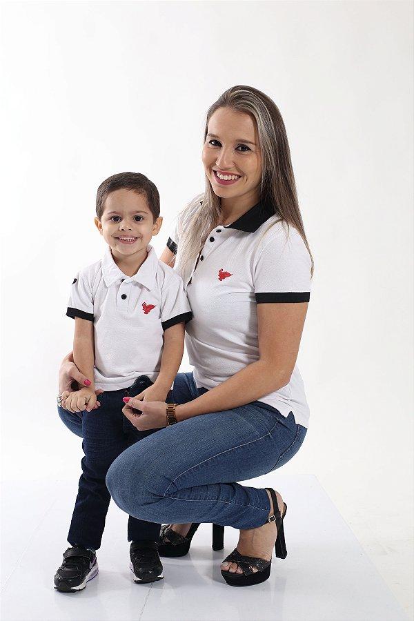 MAE E FILHO >  02 Camisas Polos Brancas com detalhes Preto [Coleção Tal Mãe Tal Filho]