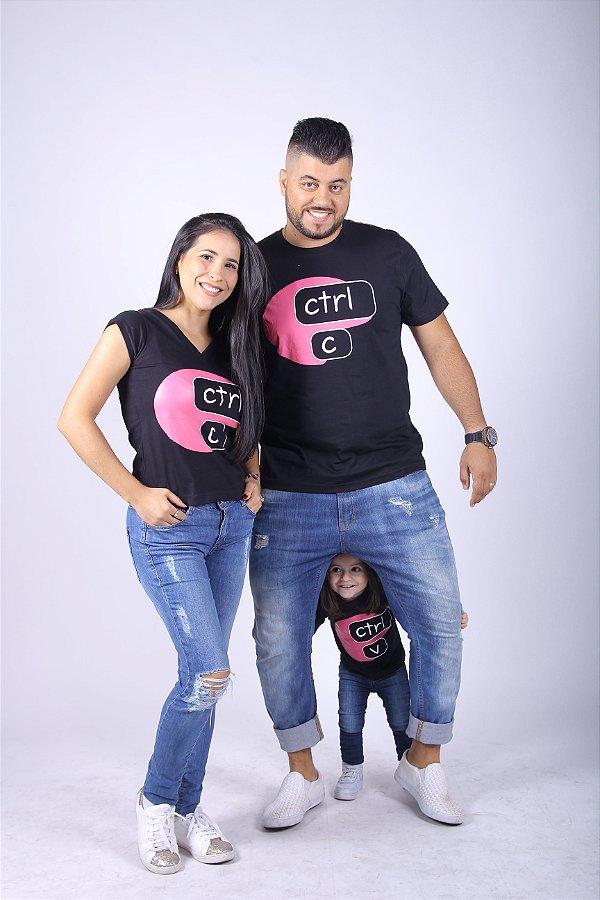 PAIS E FILHOS > Kit 3 Camisetas Pretas com rosa CTRL-C & CTRL-V [Coleção Família]