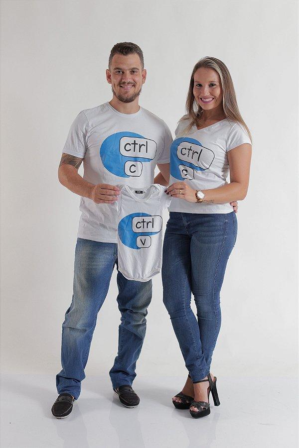 6575edd989 PAIS E FILHOS   Kit 3 peças Camisetas + Body Infantil - Ctrl-C e ...