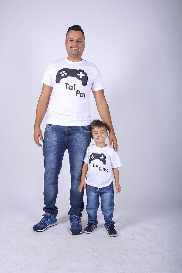 PAI E FILHO> Kit 02 Camisetas Brancas Videogame [Coleção Tal Pai Tal Filho]